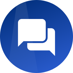 White speech bubbles icon with dark blue background